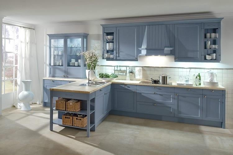 Keuken keuken blauw inspirerende foto 39 s en idee n van het interieur en woondecoratie - Foto grijze keuken en hout ...